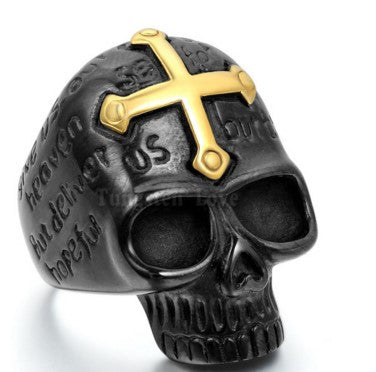 GOLD CROSS BLACK SKULL RING - 60% OFF + FREE SHIPPING