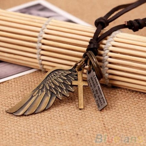 Angel Wing Leather Necklace