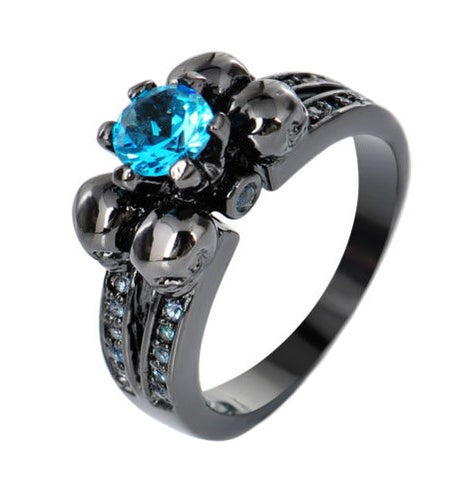 Steampunk Aquamarine Blue Ring