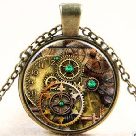 Steampunk Gears Glass Art Necklace