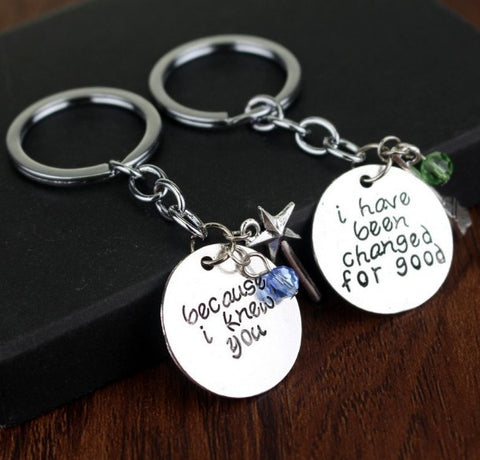 Wicked The Musical Elphaba and Glinda Inspired Keychain Set