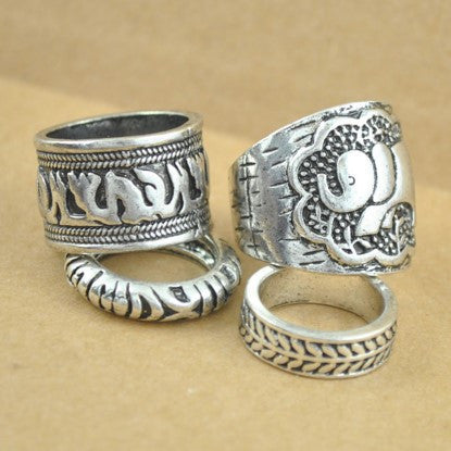 4pcs/Set Vintage Elephant Rings