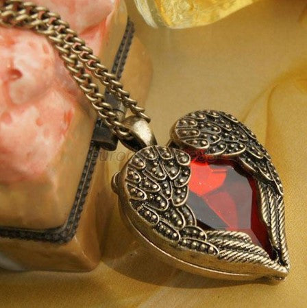 Angel Wing Red Rhinestone Pendant Necklace