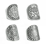 ANTIQUE SILVER TIBETAN RING SET - 4 PCS