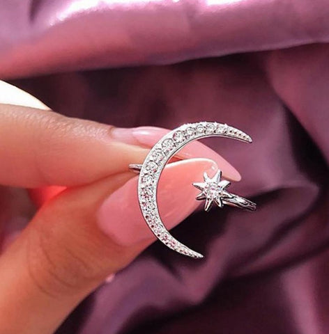 Moon & Star Adjustable Ring