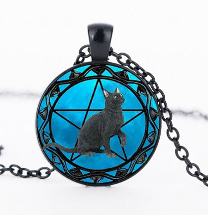 Black Cat Wiccan Necklace