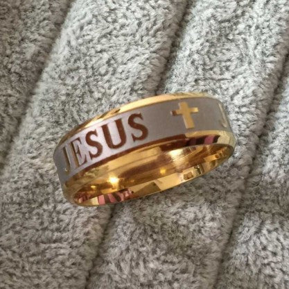 GOLD & SILVER 'JESUS' RING