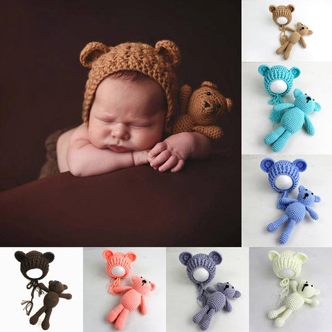 Hat & Bear Toy Crochet Knit For Newborn Baby