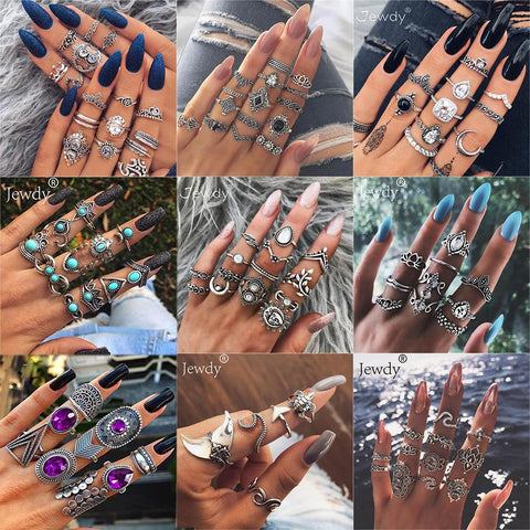 20 Styles Women Bohemian Vintage Ring Sets