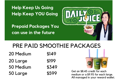 PREPAID SMOOTHIES - Support Daily Juice!