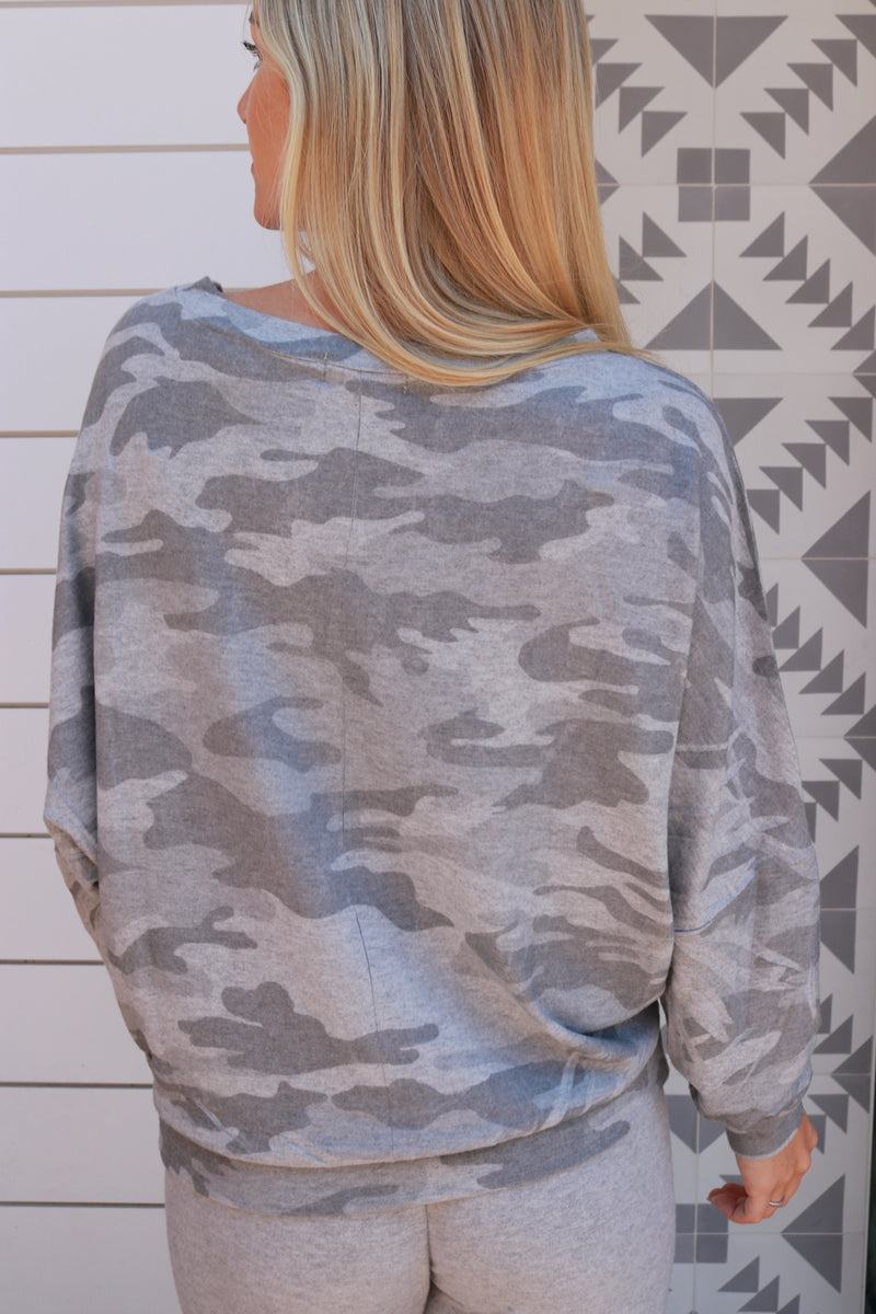 Banded Waist Crew Neck heather grey - Stevie Sister