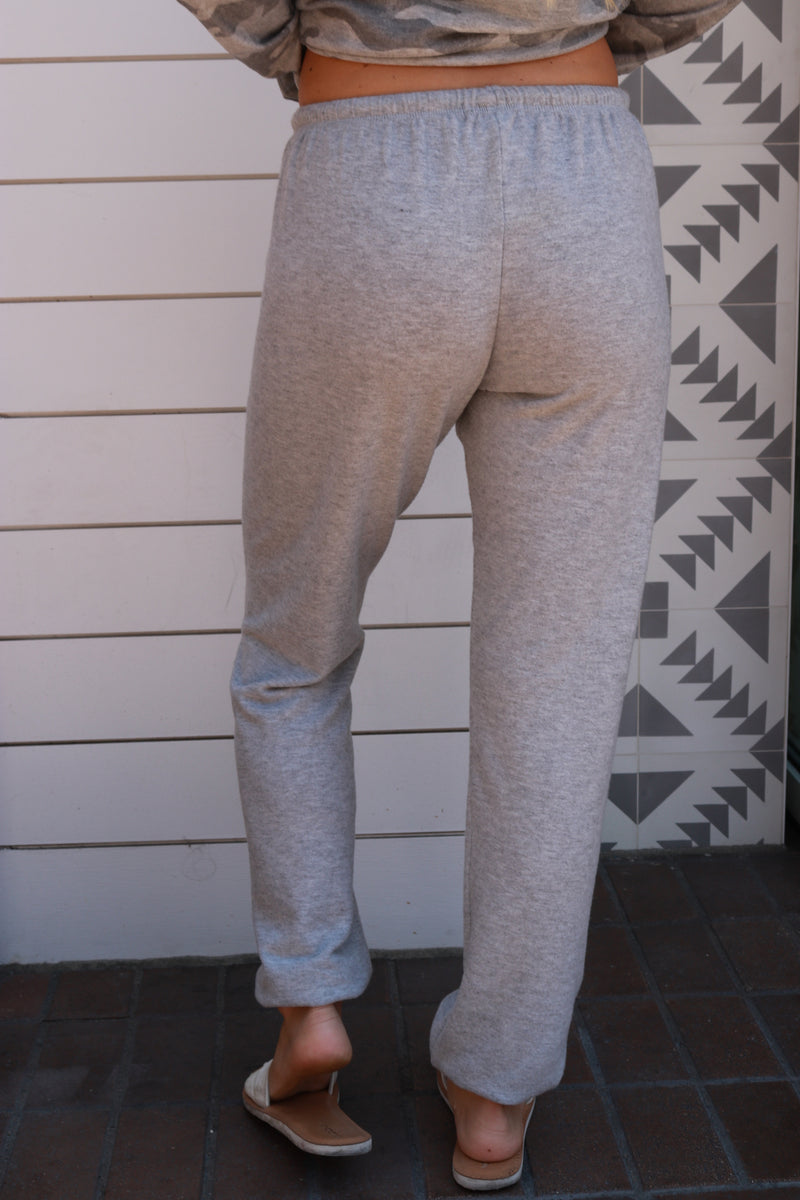 Loungy, Sweat, Pants, Heather Grey ,  Stevie Sister, Cotton Cashmere, Elastic Waist, Mod Goddess, Draw String, Jogger