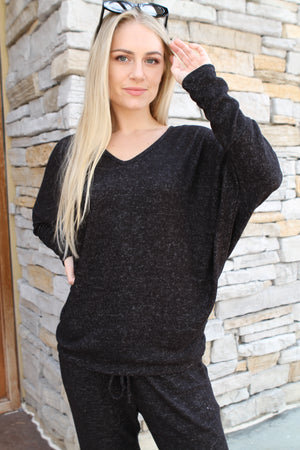 Black Marble V Neck Sweater