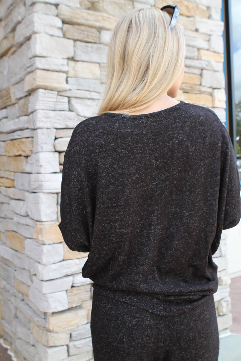 V Neck Sweater black marble - Stevie Sister