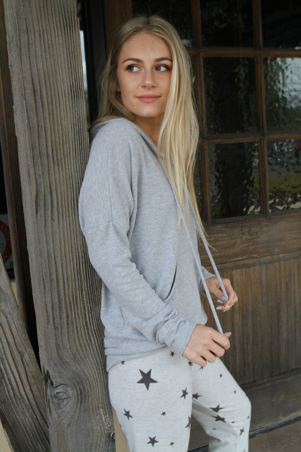 Grey Cashmere-Soft Hoodie - Stevie Sister