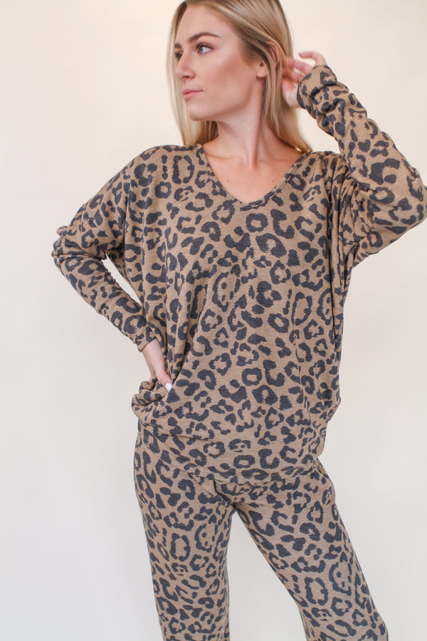 V Neck Leopard Fleece Sweater - Stevie Sister