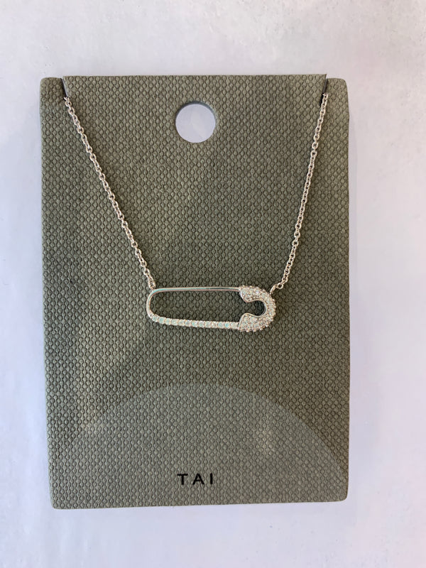 Tai jewelry, Safety pin necklace, Mother's day.