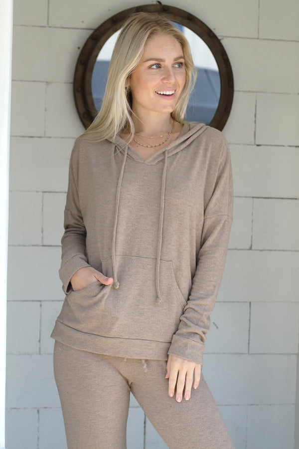Drawstring Hoodie Camel Heather