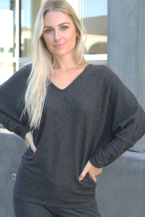V Neck Sweater CHARCOAL