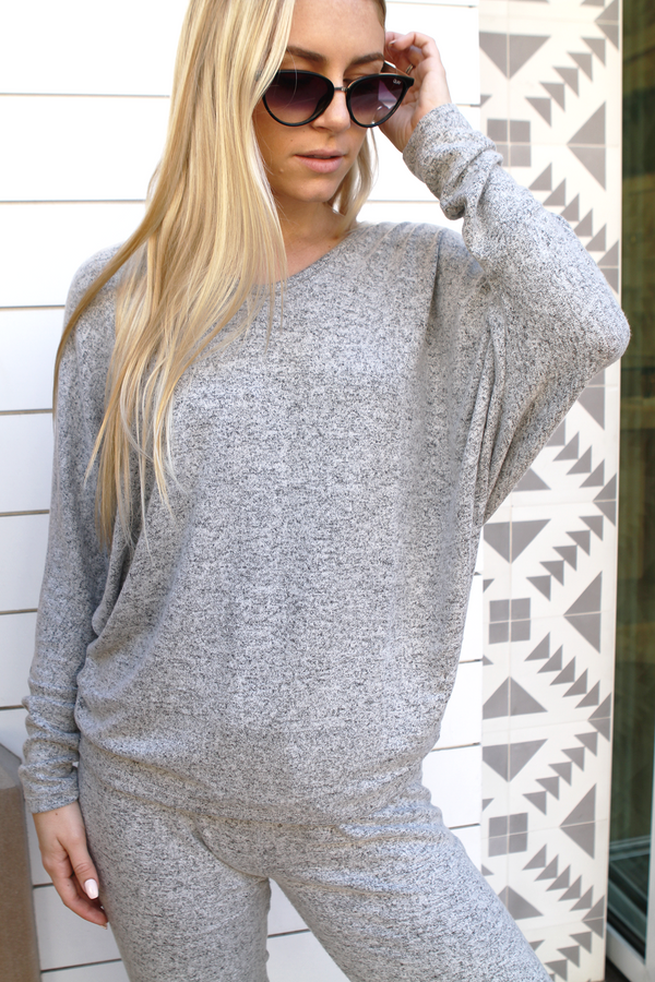 V Neck Sweater Top Natural - Stevie Sister