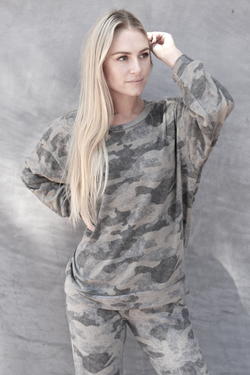 Banded Waist Crew Neck grey camo - Stevie Sister