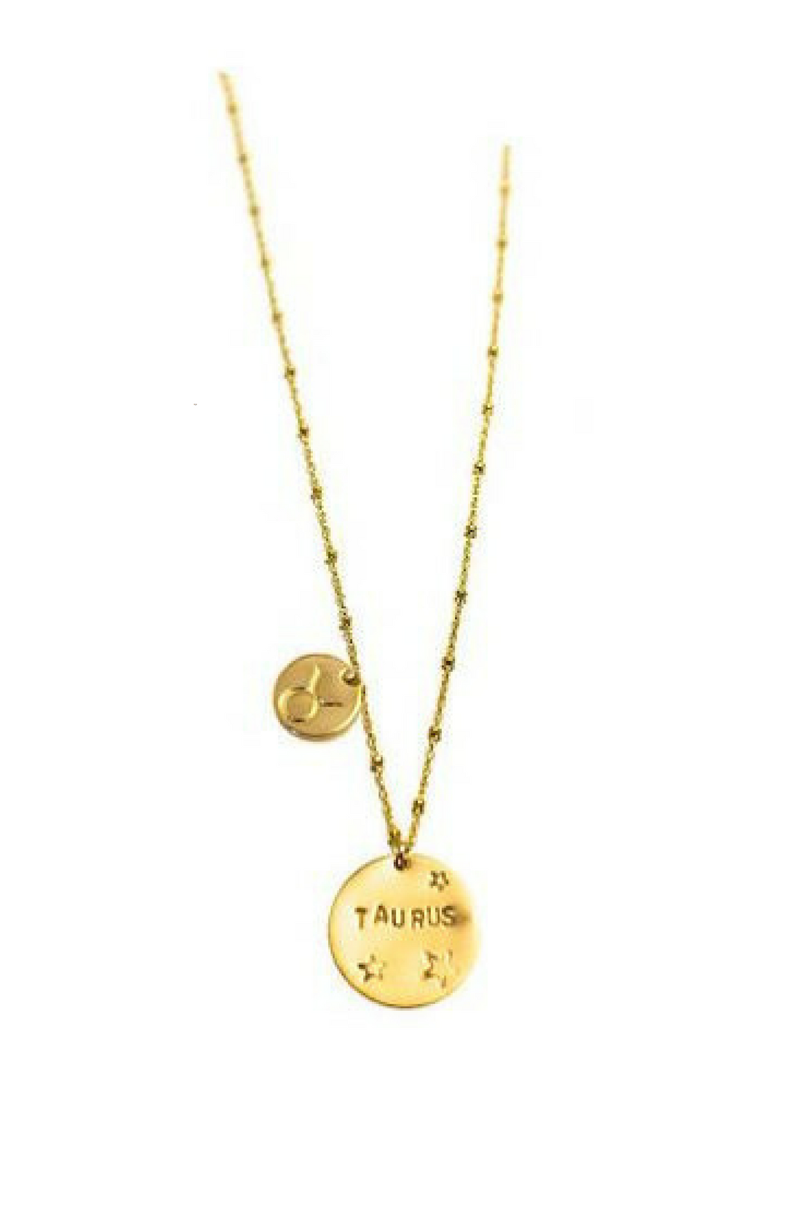 zodiac sign, horoscope, gold, necklace, gold necklace, layered, custom, engraved, coin necklace, beaded chain, paradigm jewelry
