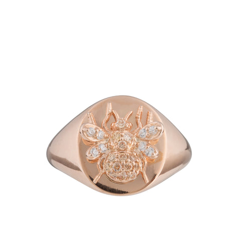 Branded Encrusted Signet Ring