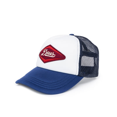 Deus Ex Machina Diamond Trucker Cap - Navy/White Front