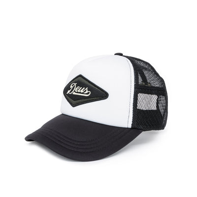 Deus Ex Machina Diamond Trucker Cap - Black/White Front