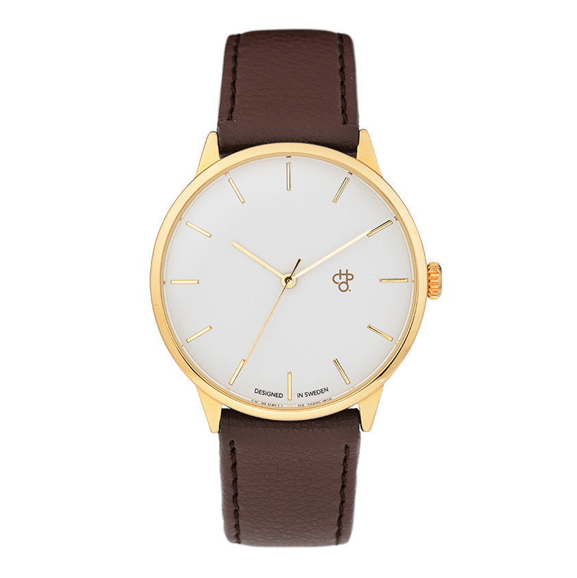 CHPO Khorshid Watch - White/Gold/Brown - Pretend Supply Co