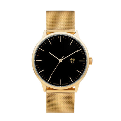 CHPO Nando Gold Watch - Black Metal Dial/Metal Mesh Wristband - Pretend Supply Co
