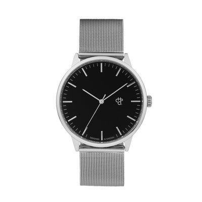 CHPO Nando Silver Watch - Black Dial/Metal Mesh Wristband - Pretend Supply Co