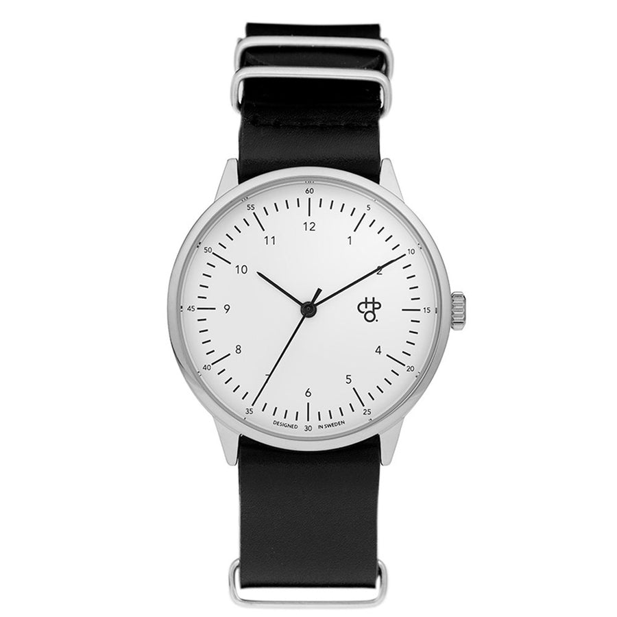 CHPO Harold Watch - White Dial/Black Leather Strap - Pretend Supply Co