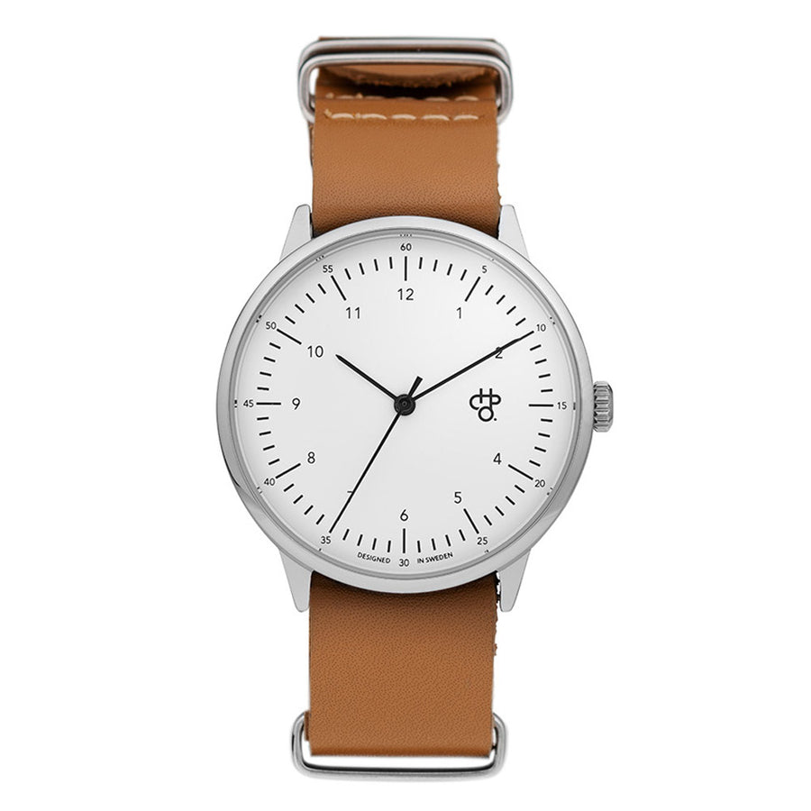 CHPO Harold Watch - White Dial/Brown Leather Strap - Pretend Supply Co