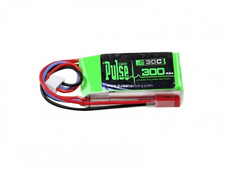 PULSE 300mAh 2S 7.4V 30C LiPo Battery - with red JST RCY Connector