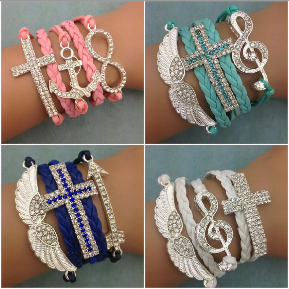 Rhinestone Adjustable Cord Bracelets  3-5 DAYS SHIPPING