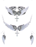 Angel wing choker cross necklace,bracelet and earring set's