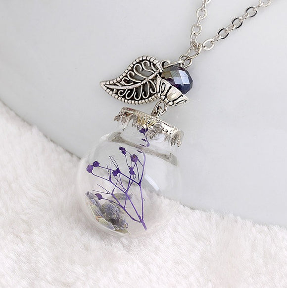 Beautiful Glass Bottle Dried Flower Vial Necklace 3-5 DAY SHIPPING