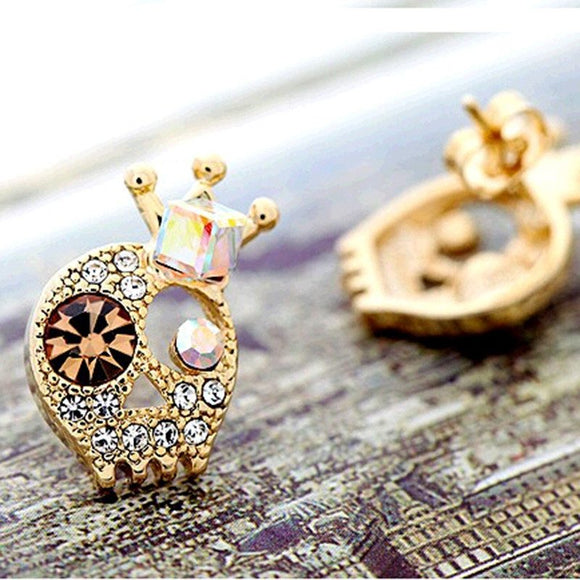 Crystal Rhinestone Skull Stud Earrings  3-5 DAYS SHIPPING