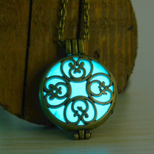 Glow in the Dark Vintage Hollow Flower Necklace Pendant  3-5 DAYS SHIPPING