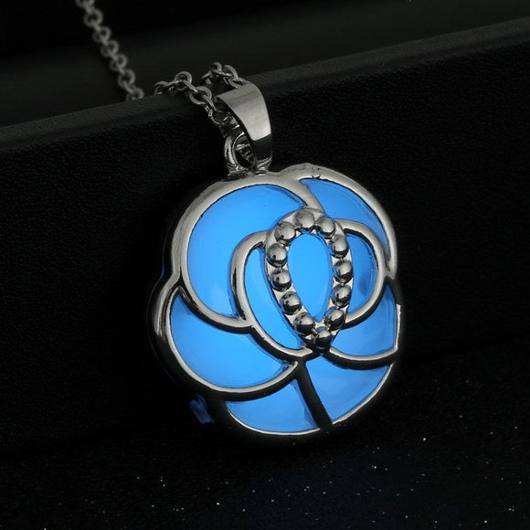 Glow in the Dark Rose Pendant Necklace  3-5 DAYS SHIPPING