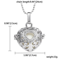 Glow in the Dark Rhinestone Heart Interchangeable Locket Pendant  3-5 DAYS SHIPPING