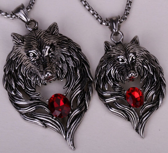 Heavy Duty Couples Stainless Steel Wolf Pendant/Necklace Set