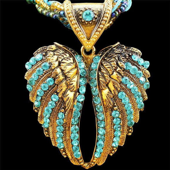 Beaded Bronze Plated Angel Wing Necklace 3-5 DAY SHIPPING