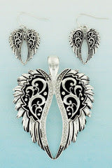 Angel Wing Pendant & Earring Set 3-5 DAY SHIPPING