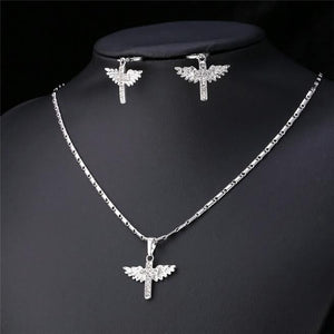 Platinum Plated Angel Wing Cross Necklace & Earring Set  3-5 DAYS SHIPPING