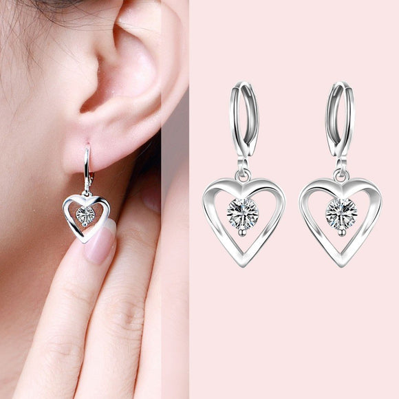 925 Silver Heart Dangle Earrings 3-5 DAY SHIPPING  3-5 DAYS SHIPPING
