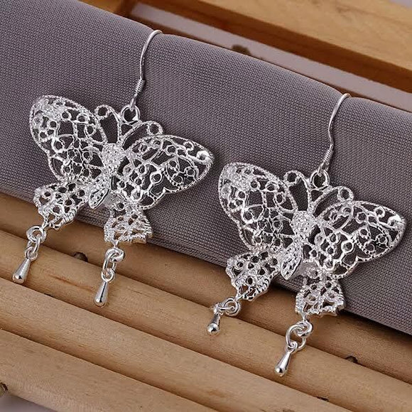 925 Silver Hollow Butterfly Dangle Earrings 3-5 DAY SHIPPING  3-5 DAYS SHIPPING