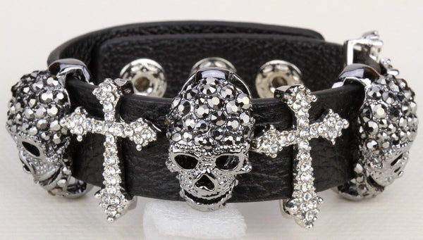 Skull & Cross Leather Rhinestone Encrusted Adjustable Bracelet