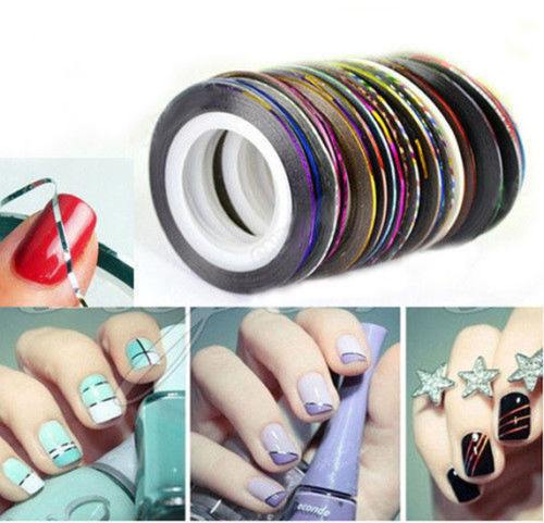 30 pcs Mixed Color Rolls for Striping, Line Nail Art, Tips Decoration (Sticker)  3-5 DAYS SHIPPING
